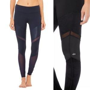 Alo NWT Sheila Black V-Stripe Moto Yoga Legging